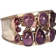 Extra Wide Sterling Silver & Polished Amethyst Vintage Cuff Bracelet