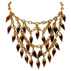 "Antique Amethyst Purple Prism Glass Fringed 4"" , Four Inch Bib Necklace!"