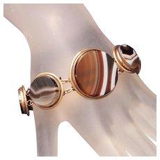 Antique Large Stones Banded Agate Gold Filled or Low Carat Gold Bracelet