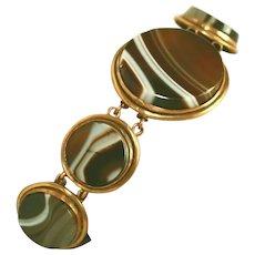Antique Victorian Large Stones Banded Agate Gold Filled, Low Carat Gold Pinchbeck Bracelet