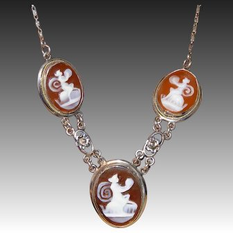 Antique Edwardian Necklace 3 Mythical Creatures (Muses, Nymphs?) on Three Carved Shell Cameos White GF