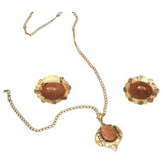 Antique Goldstone Pendant & Chain, Earrings Set