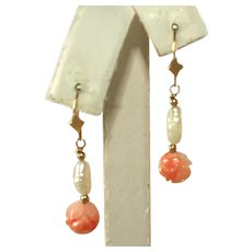 Antique 14k Gold, Coral & Natural Pearl Pierced Earrings