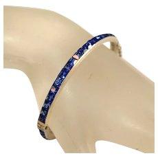 Antique Art Deco Blue Paste Sterling Silver Bangle Bracelet