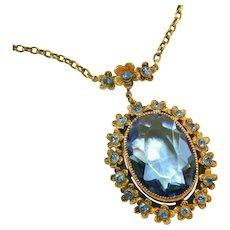 Antique Art Deco Czech Tombac, Pinchbeck Large Blue Bezel Set Stone Drop Necklace, Amazing Construction