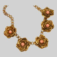 Antique Art Deco Brass Bookchain with Open Articulated Flower Blooms Necklace