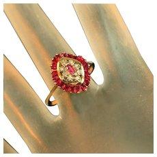 Antique Art Deco Cage Set Ruby & Diamond Ring, Calibre Cut Rubies, Size 8 1/2