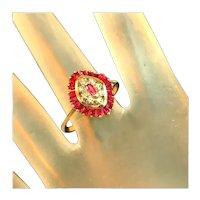 9 Carat, 9 kt, Signed, Hallmarked, Wavy Ribbon Collar of Rubies, Accent Diamonds