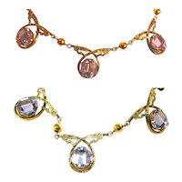 Antique Art Deco, Art Nouveau (3) Three Tanzanite Color Change Asscher Cut Stones Necklace, 10K GF
