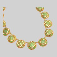 Antique Art Deco Czech Enamel & Brass Necklace