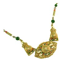 Antique Art Deco Czech Neiger Bros Enamel Tombac Drop Necklace, Fabulous Detailing & Milgrain