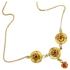 Antique Art Deco Gold Filled & Tulip Cup Set Red Stones Necklace, Marked 12k 1/20