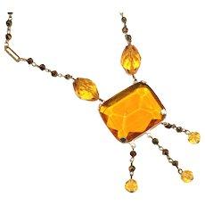 Antique Art Deco Czech Lavaliere Gold Glass & Copper Glass Nugget Links Drop Necklace