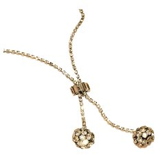 Antique Art Deco Rhinestone Glitter Ball Lariat Style Drop Necklace