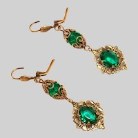 Antique Art Deco Filigree & Green Stones Drop Earrings, Pierced with Gold Content