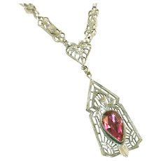 Art Deco Rhodium Plated Pink Vauxhall Glass Stone Paper Clip Chain Lavaliere Necklace