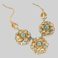 Antique Art Deco Sculpted Design Pinchbeck or Tombac Sky Blue Brilliant Pastes & Three (3) Medallions Drop Necklace