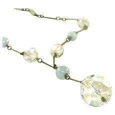 Antique Art Deco Lavaliere Style Rock Crystal Vintage Drop Necklace, c.1920