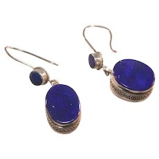 Antique Art Deco Sterling Silver Lapis Lazuli Drop Earrings for Pierced Ears