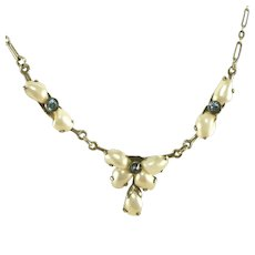 Antique Art Deco River Pearl & Sapphire Paste Sterling Silver Drop Necklace, Marked STER