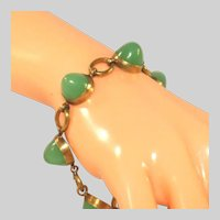 Antique Art Deco Jade Green Glass Sugarloaf Seven (7) Cabochons & Gold Plated Brass Fittings Bracelet
