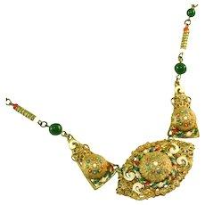 Art Deco Czech Neiger Bros Enamel Tombac Drop Necklace, Fabulous Detailing & Milgrain