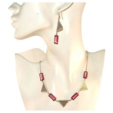 Antique Art Deco Deep Pink & White Gold Plated Necklace & Pierced Earrings Set
