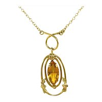 "Antique Art Deco White Co Amber Citrine Color Marquis Stone Gold Filled Drop Necklace, 1 ½"" Drop"