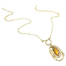 "Antique Art Deco White Co Amber Citrine Marquis Stone Gold Filled Drop Necklace, 1 ½"" Drop"