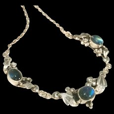 Arts & Crafts Antique Sterling Silver & Blue Moonstone Dimensional Sculpted Necklace - Red Tag Sale Item