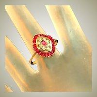 Antique Art Deco Cage Set Ruby & Diamond Ring, Calibre Cut Rubies, Size 8 ½