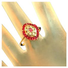 Antique Art Deco Cage Set Ruby & Diamond Ring, Calibre Cut Rubies, Size 8 ½