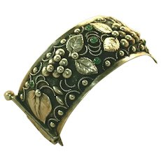 Antique Arts & Crafts Dimensional Sculpted Vintage Wide Cuff Bracelet, Chrysoprase Bezel Set Cabochons