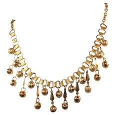Antique Arts & Crafts Bookchain Gold Pinchbeck Fringe Necklace