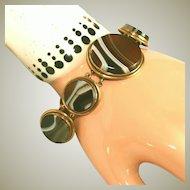 Antique Victorian Large Stones Banded Agate Gold Filled or Low Carat Gold Bracelet