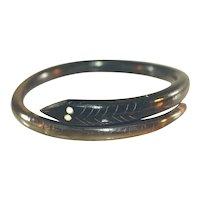 Antique Natural Black Coral Snake Bracelet