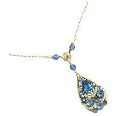 Antique Art Deco Blue Stone & Faux Seed Pearl Trim Lavaliere Necklace