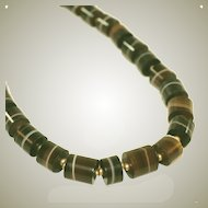 Antique Carved Banded Agate Stone Barrels Beaded Necklace