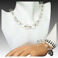 Art Deco Rock Crystal Vintage Necklace, Bracelet Set, Unusual Cuts, Large Beads