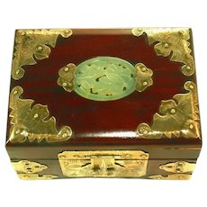 Antique Small Ornate Brass Hinged Ebonized Jewelry Box, Pierced Carved Celadon Jade Insert