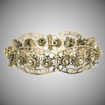 Cannetille Style Antique 900 Silver Link Filigree Panel Bracelet