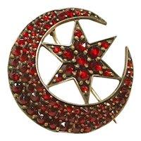 Antique Bohemian Garnet Large Crescent Moon & Star Victorian Pin
