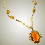 Antique Czech Necklace Large Amber Glass Drop, Vauxhall Glass, Enameling & Brass