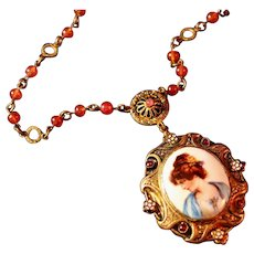 Antique Large Medallion Portrait Necklace, Enameling & Carnelian Glass Beads