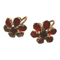 Antique Signed Czech Bohemian Garnet Flat Cut Stones Victorian Earrings, Screw Backs