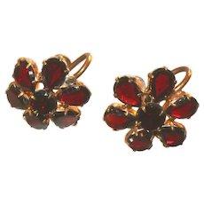 Antique Signed Czech Bohemian Garnet Flat Cut Stones Victorian Earrings, Screw Backs