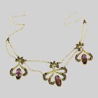 Antique Edwardian Pinchbeck & Amethyst Paste Festoon Necklace, c.1900