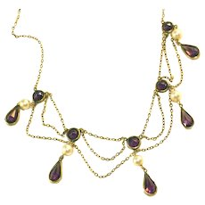 Antique Edwardian Open Back Amethyst & Pearl Low Karat Gold Bib Necklace, Rose Cut Stones