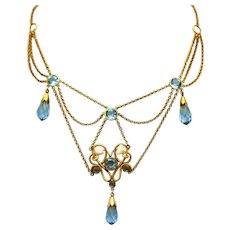 Edwardian Antique Blue Briolette Drops & Pearl Chips Bib Festoon Gold Filled Necklace