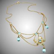 Edwardian Antique Blue Briolette Drops & Pearl Chips Bib Festoon Gold Filled Necklace